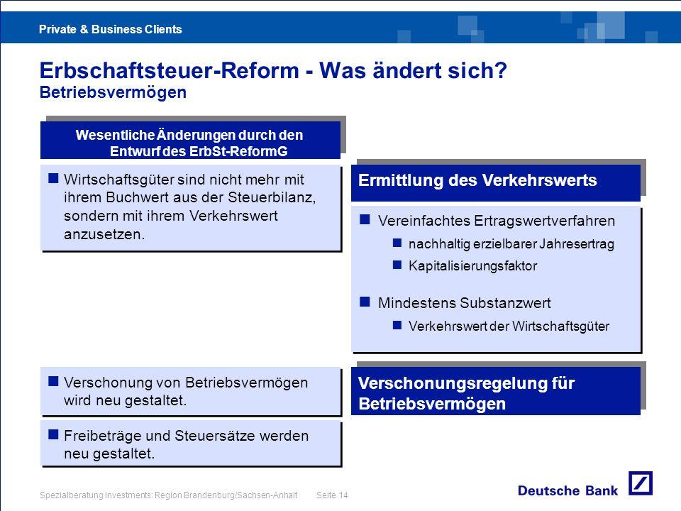 Private & Business Clients Spezialberatung Investments: Region Brandenburg/Sachsen-Anhalt Seite 14 Erbschaftsteuer-Reform - Was ändert sich? Betriebsv