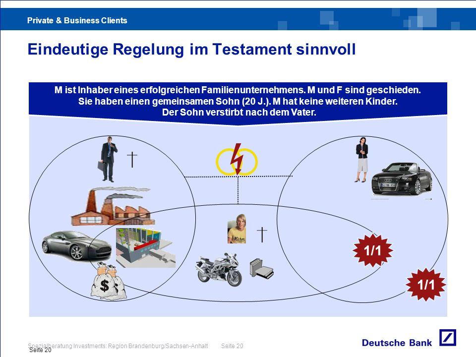Private & Business Clients Spezialberatung Investments: Region Brandenburg/Sachsen-Anhalt Seite 20 Seite 20 Eindeutige Regelung im Testament sinnvoll