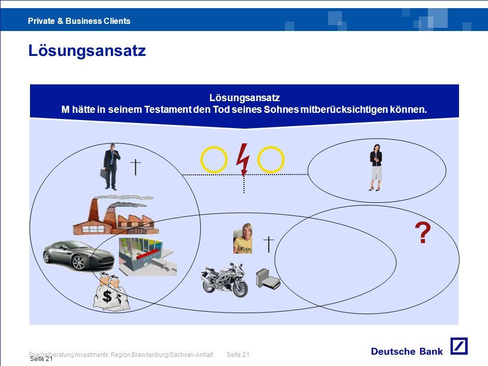 Private & Business Clients Spezialberatung Investments: Region Brandenburg/Sachsen-Anhalt Seite 21 Seite 21 Lösungsansatz M hätte in seinem Testament
