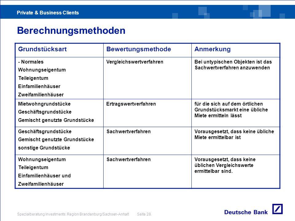 Private & Business Clients Spezialberatung Investments: Region Brandenburg/Sachsen-Anhalt Seite 28 Berechnungsmethoden GrundstücksartBewertungsmethode