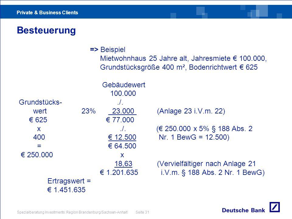 Private & Business Clients Spezialberatung Investments: Region Brandenburg/Sachsen-Anhalt Seite 31 Besteuerung => Beispiel Mietwohnhaus 25 Jahre alt,