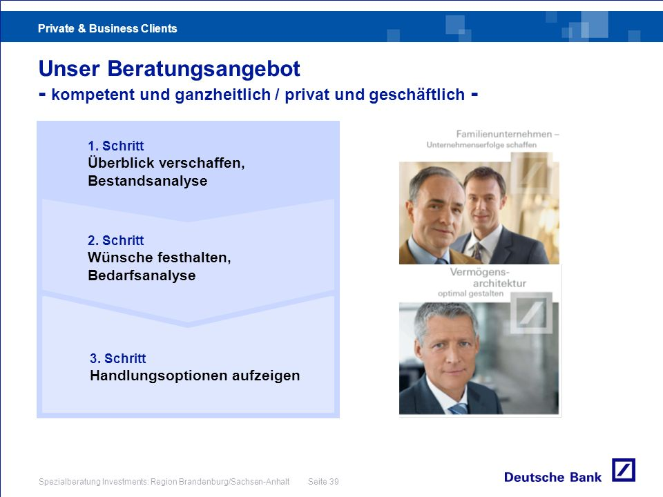 Private & Business Clients Spezialberatung Investments: Region Brandenburg/Sachsen-Anhalt Seite 39 Unser Beratungsangebot - kompetent und ganzheitlich