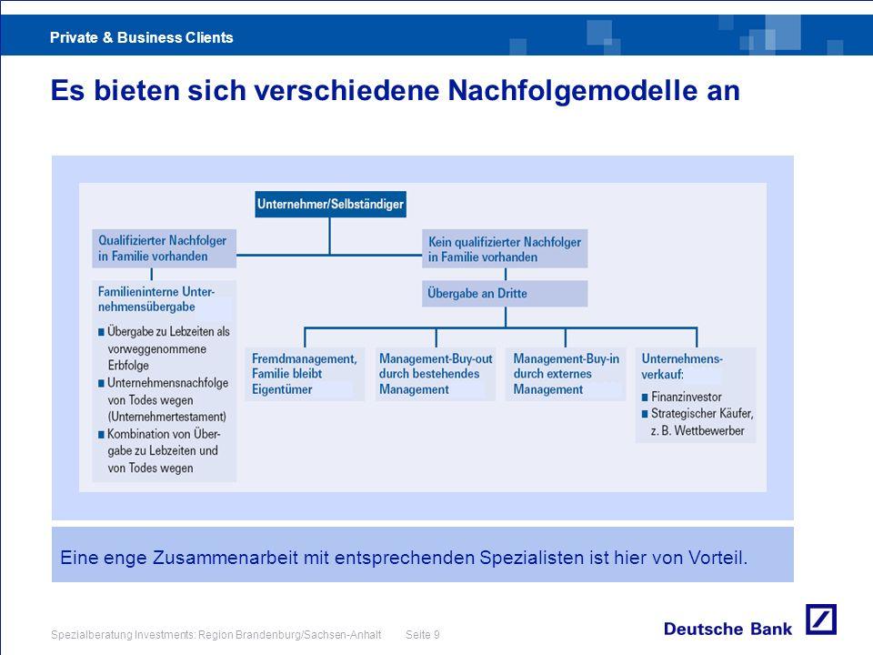 Private & Business Clients Spezialberatung Investments: Region Brandenburg/Sachsen-Anhalt Seite 9 Es bieten sich verschiedene Nachfolgemodelle an Eine