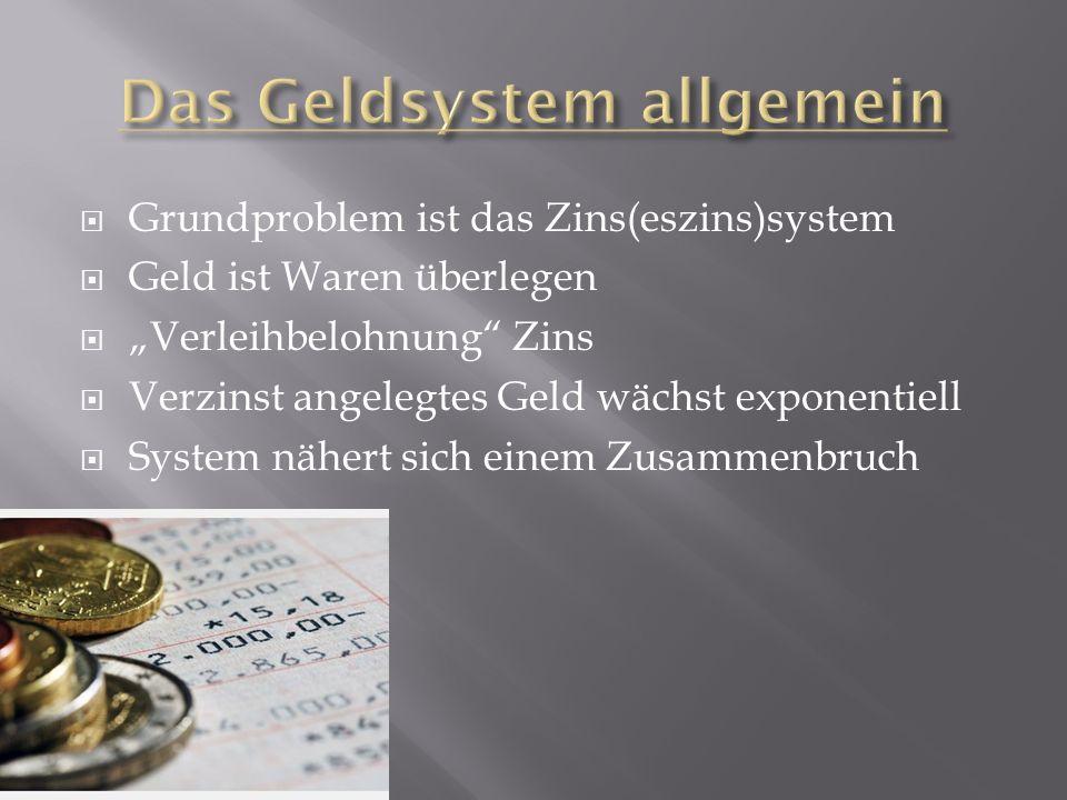 Grundproblem ist das Zins(eszins)system Geld ist Waren überlegen Verleihbelohnung Zins Verzinst angelegtes Geld wächst exponentiell System nähert sich