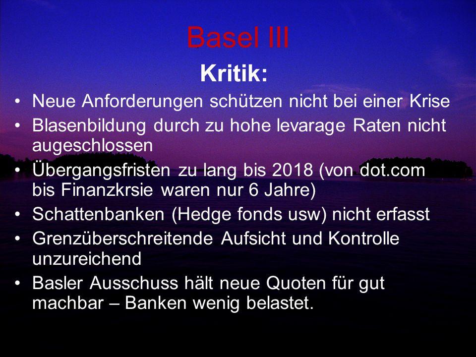 Basel III Kritik: Neue Anforderungen schützen nicht bei einer Krise Blasenbildung durch zu hohe levarage Raten nicht augeschlossen Übergangsfristen zu