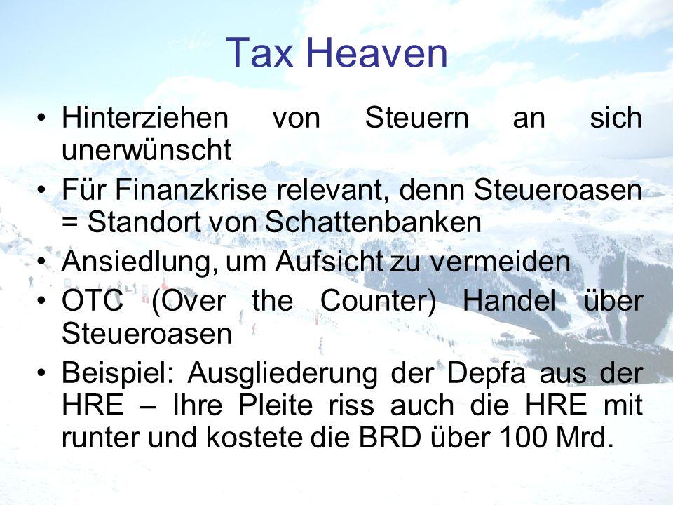 Tax Heaven Hinterziehen von Steuern an sich unerwünscht Für Finanzkrise relevant, denn Steueroasen = Standort von Schattenbanken Ansiedlung, um Aufsic
