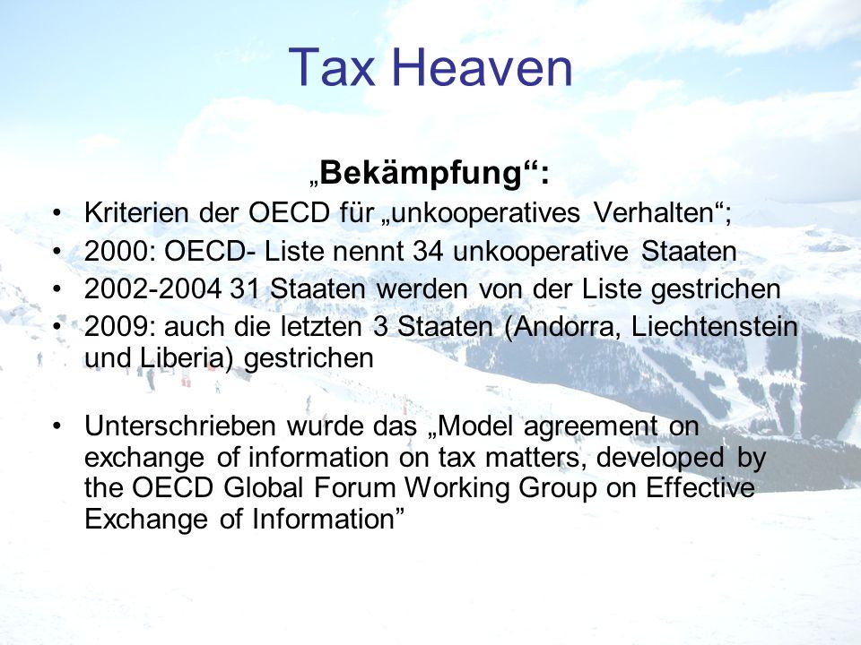Bekämpfung: Kriterien der OECD für unkooperatives Verhalten; 2000: OECD- Liste nennt 34 unkooperative Staaten 2002-2004 31 Staaten werden von der List
