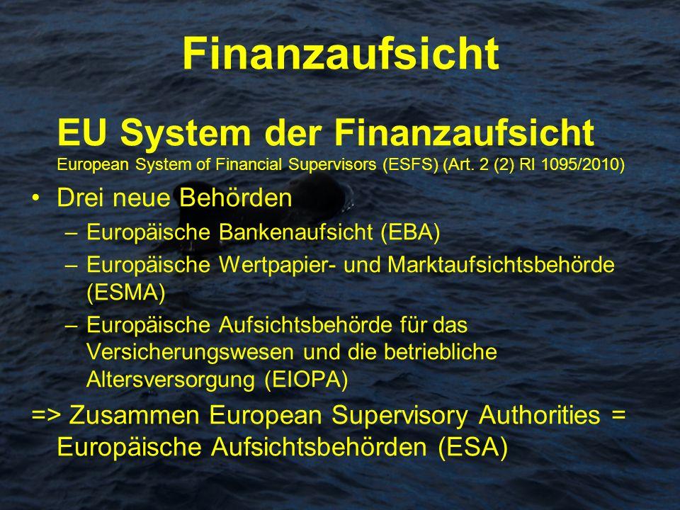 Finanzaufsicht EU System der Finanzaufsicht European System of Financial Supervisors (ESFS) (Art. 2 (2) Rl 1095/2010) Drei neue Behörden –Europäische