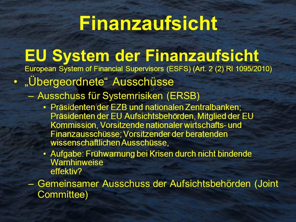 Finanzaufsicht EU System der Finanzaufsicht European System of Financial Supervisors (ESFS) (Art. 2 (2) Rl 1095/2010) Übergeordnete Ausschüsse –Aussch