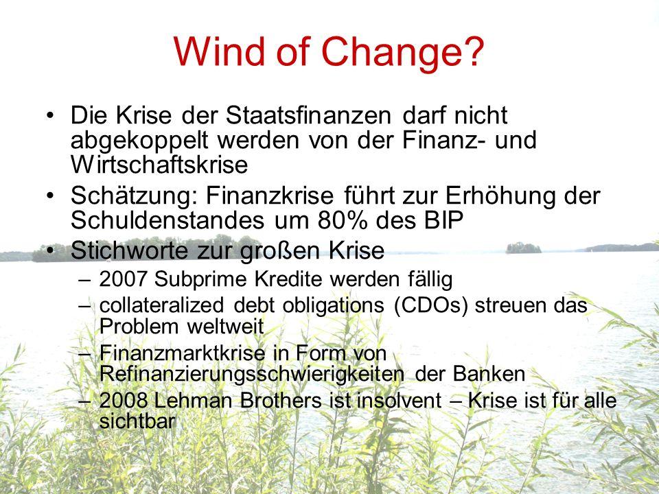 Wind of Change? Die Krise der Staatsfinanzen darf nicht abgekoppelt werden von der Finanz- und Wirtschaftskrise Schätzung: Finanzkrise führt zur Erhöh