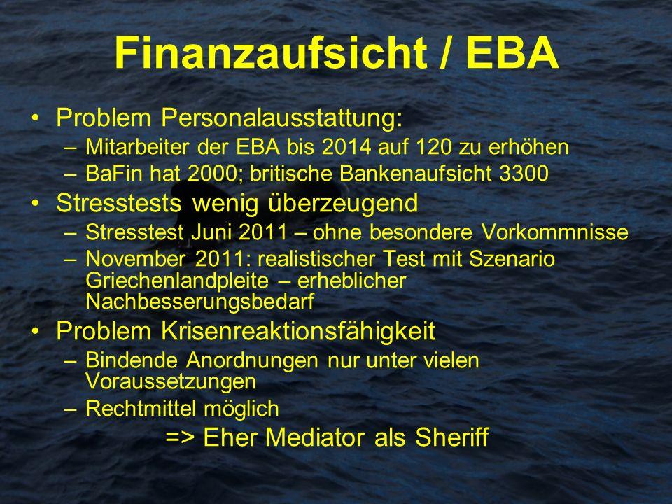 Finanzaufsicht / EBA Problem Personalausstattung: –Mitarbeiter der EBA bis 2014 auf 120 zu erhöhen –BaFin hat 2000; britische Bankenaufsicht 3300 Stre