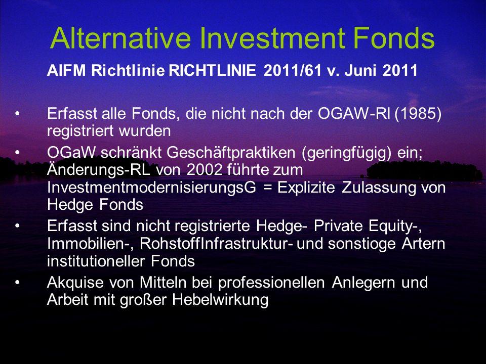 Alternative Investment Fonds AIFM Richtlinie RICHTLINIE 2011/61 v. Juni 2011 Erfasst alle Fonds, die nicht nach der OGAW-Rl (1985) registriert wurden