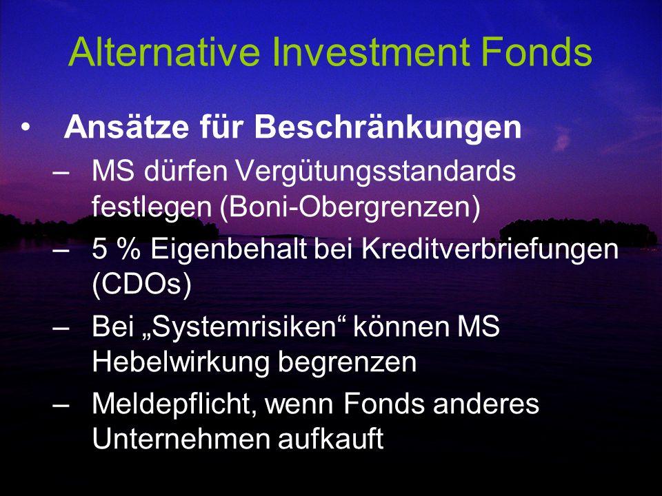 Alternative Investment Fonds Ansätze für Beschränkungen –MS dürfen Vergütungsstandards festlegen (Boni-Obergrenzen) –5 % Eigenbehalt bei Kreditverbrie