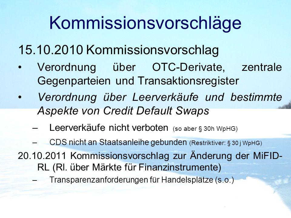 Kommissionsvorschläge 15.10.2010 Kommissionsvorschlag Verordnung über OTC-Derivate, zentrale Gegenparteien und Transaktionsregister Verordnung über Le
