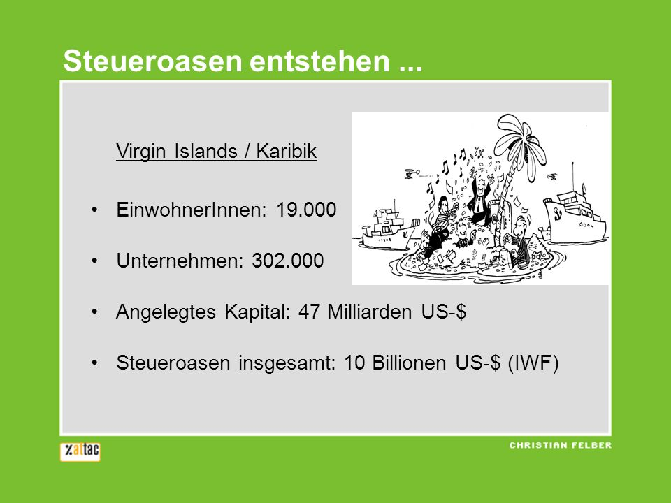 Steueroasen entstehen... Virgin Islands / Karibik EinwohnerInnen: 19.000 Unternehmen: 302.000 Angelegtes Kapital: 47 Milliarden US-$ Steueroasen insge