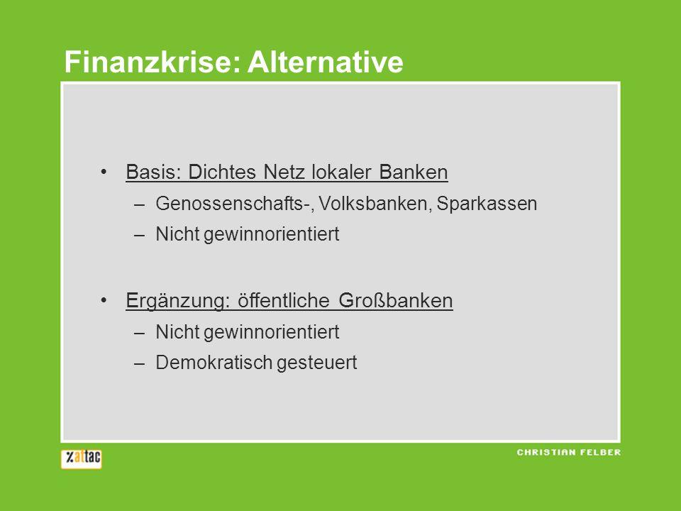 Basis: Dichtes Netz lokaler Banken –Genossenschafts-, Volksbanken, Sparkassen –Nicht gewinnorientiert Ergänzung: öffentliche Großbanken –Nicht gewinno