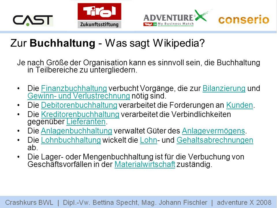 Zur Buchhaltung - Was sagt Wikipedia? Je nach Größe der Organisation kann es sinnvoll sein, die Buchhaltung in Teilbereiche zu untergliedern. Die Fina