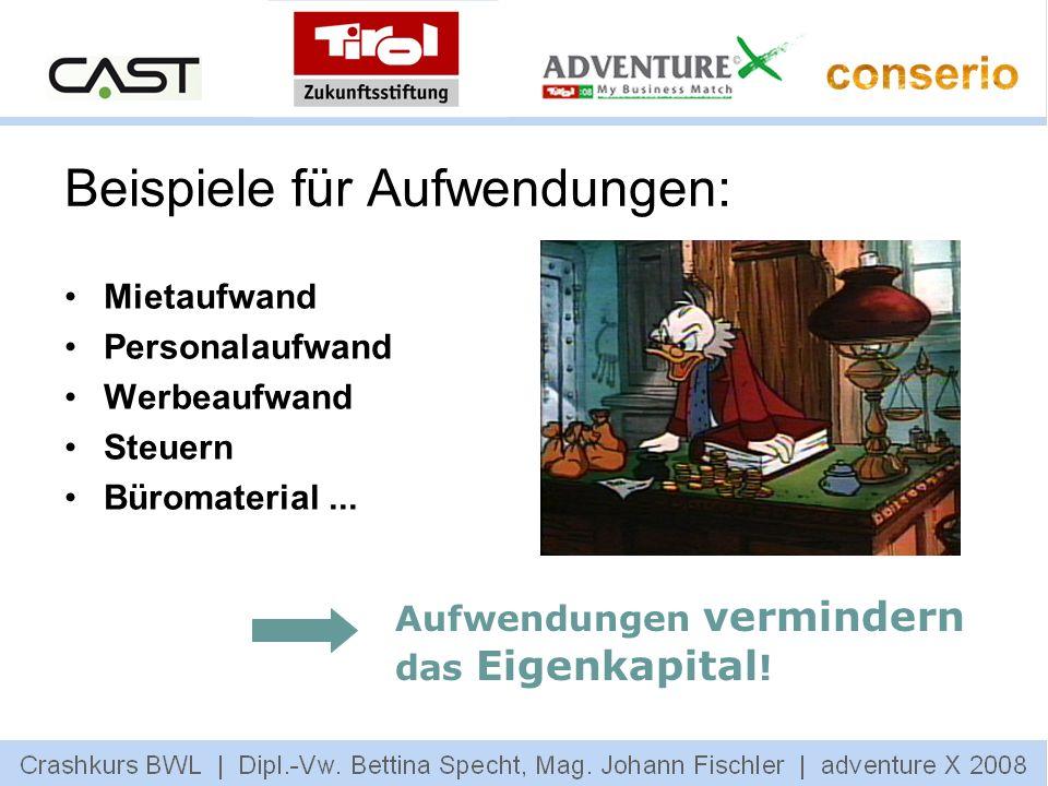 Beispiele für Aufwendungen: Mietaufwand Personalaufwand Werbeaufwand Steuern Büromaterial... Aufwendungen vermindern das Eigenkapital !