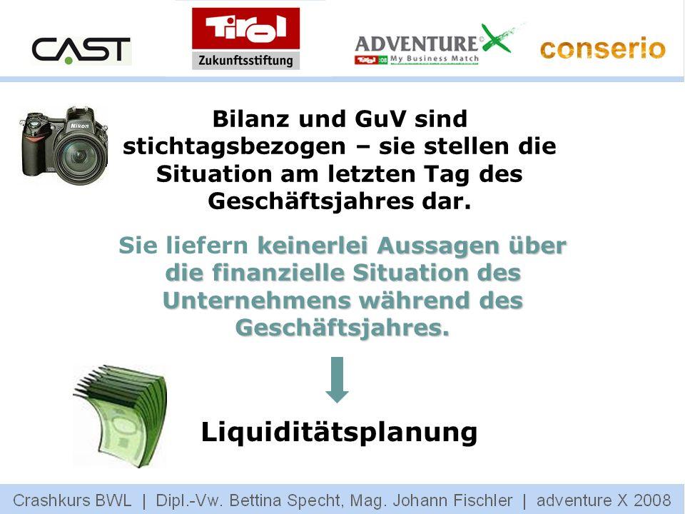Bilanz und GuV sind stichtagsbezogen – sie stellen die Situation am letzten Tag des Geschäftsjahres dar. keinerlei Aussagen über die finanzielle Situa