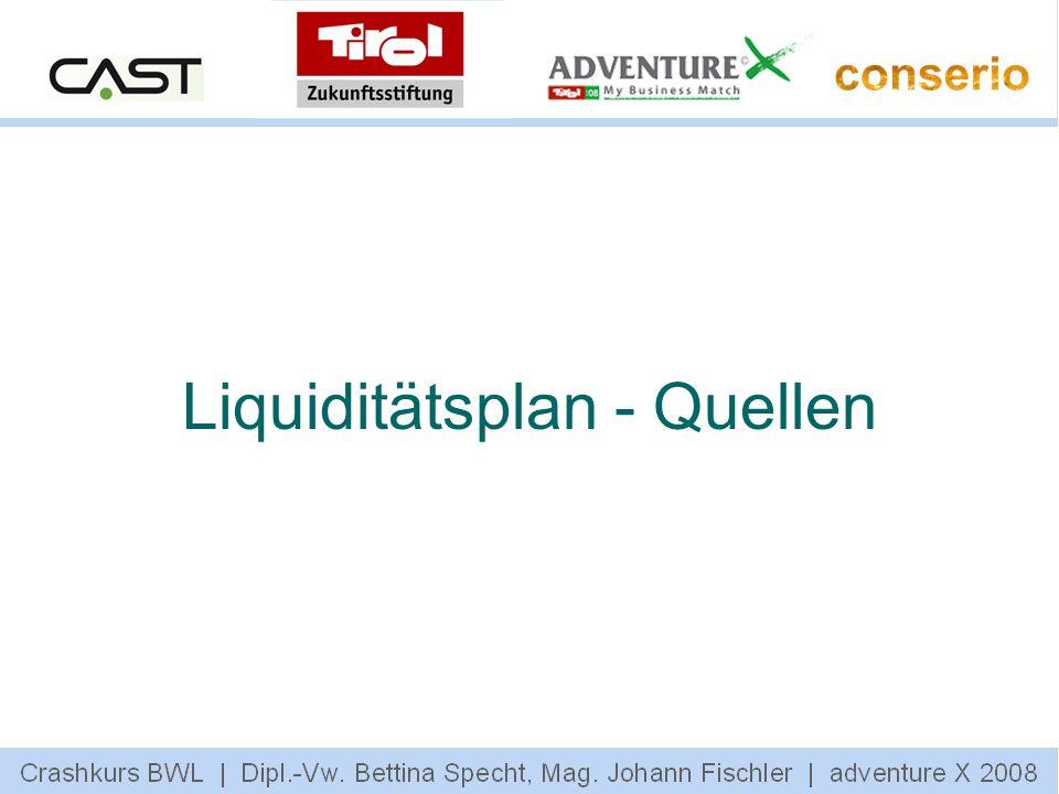 Liquiditätsplan - Quellen