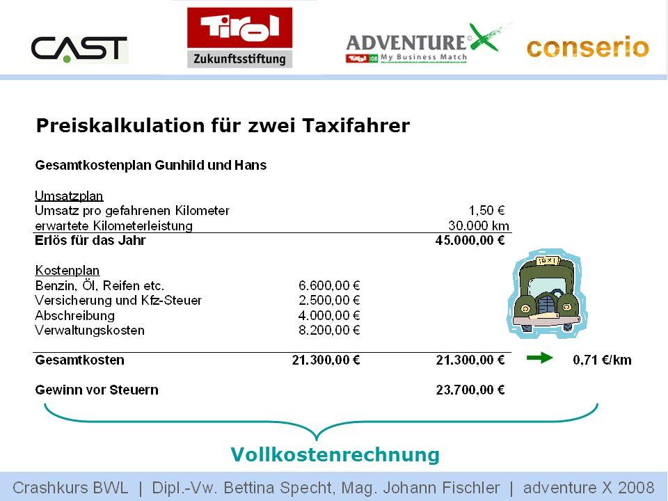 Vollkostenrechnung Preiskalkulation für zwei Taxifahrer