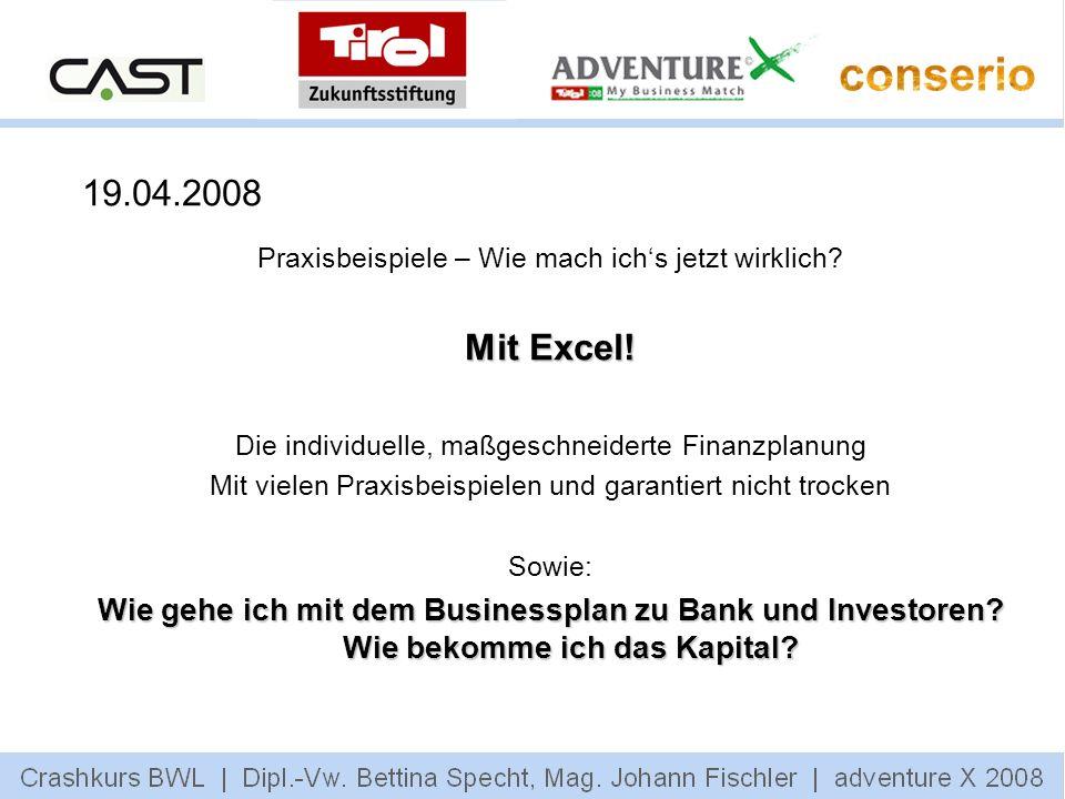 19.04.2008 Praxisbeispiele – Wie mach ichs jetzt wirklich? Mit Excel! Die individuelle, maßgeschneiderte Finanzplanung Mit vielen Praxisbeispielen und
