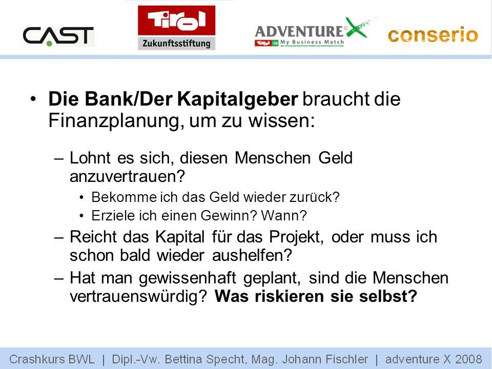 Die Bank/Der Kapitalgeber braucht die Finanzplanung, um zu wissen: –Lohnt es sich, diesen Menschen Geld anzuvertrauen? Bekomme ich das Geld wieder zur