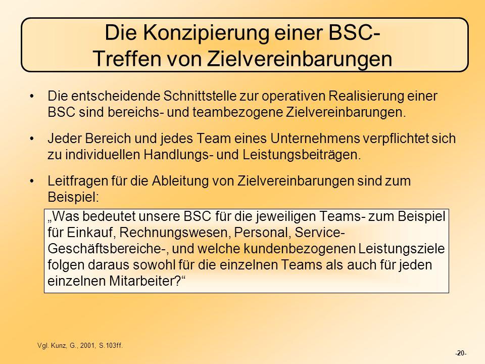 -20- Die Konzipierung einer BSC- Treffen von Zielvereinbarungen Die entscheidende Schnittstelle zur operativen Realisierung einer BSC sind bereichs- u