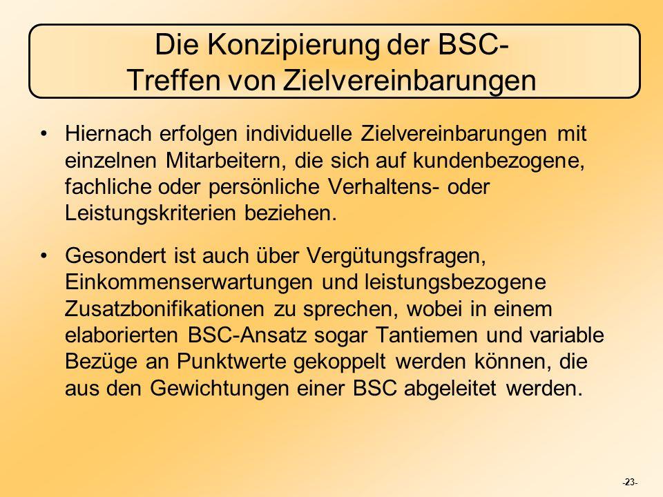 -23- Die Konzipierung der BSC- Treffen von Zielvereinbarungen Hiernach erfolgen individuelle Zielvereinbarungen mit einzelnen Mitarbeitern, die sich a