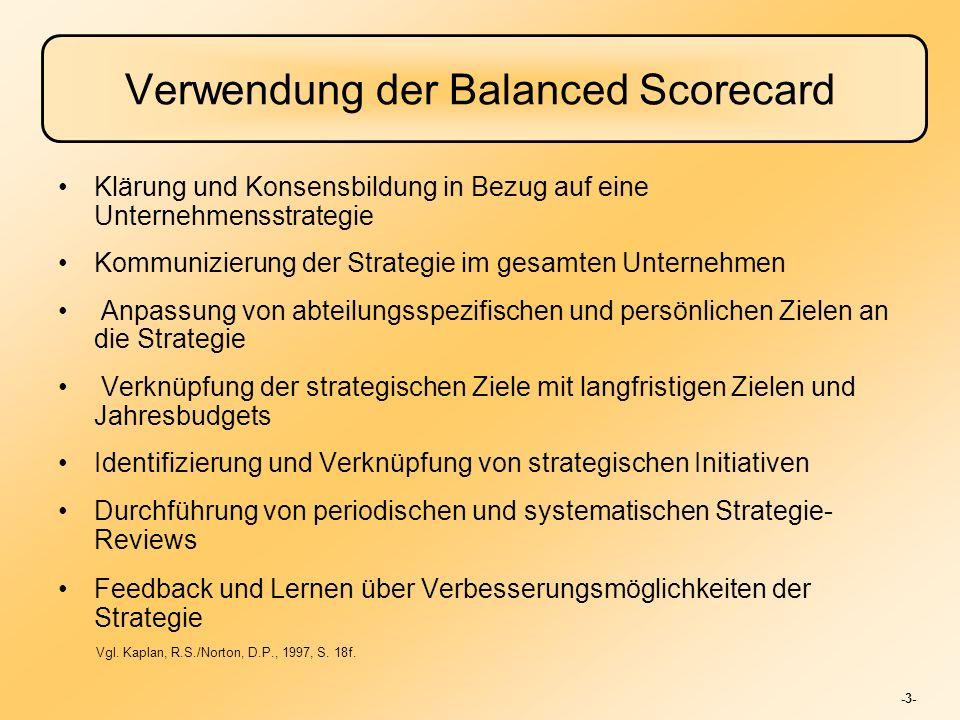 -3- Verwendung der Balanced Scorecard Klärung und Konsensbildung in Bezug auf eine Unternehmensstrategie Kommunizierung der Strategie im gesamten Unte