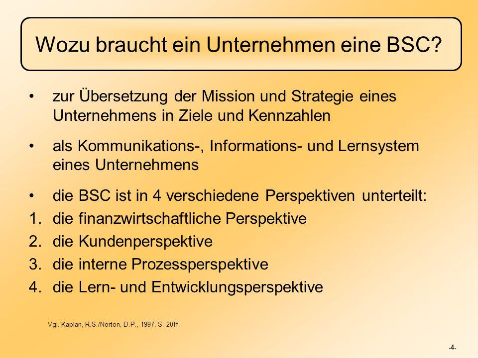 -4- Wozu braucht ein Unternehmen eine BSC? zur Übersetzung der Mission und Strategie eines Unternehmens in Ziele und Kennzahlen als Kommunikations-, I