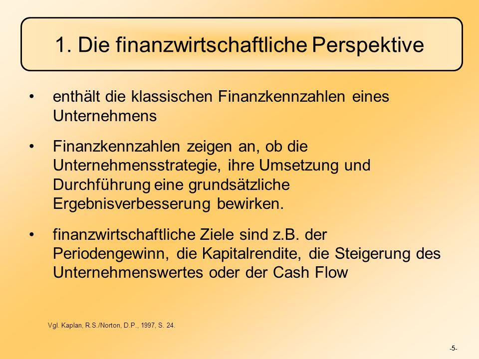 -5- 1. Die finanzwirtschaftliche Perspektive enthält die klassischen Finanzkennzahlen eines Unternehmens Finanzkennzahlen zeigen an, ob die Unternehme