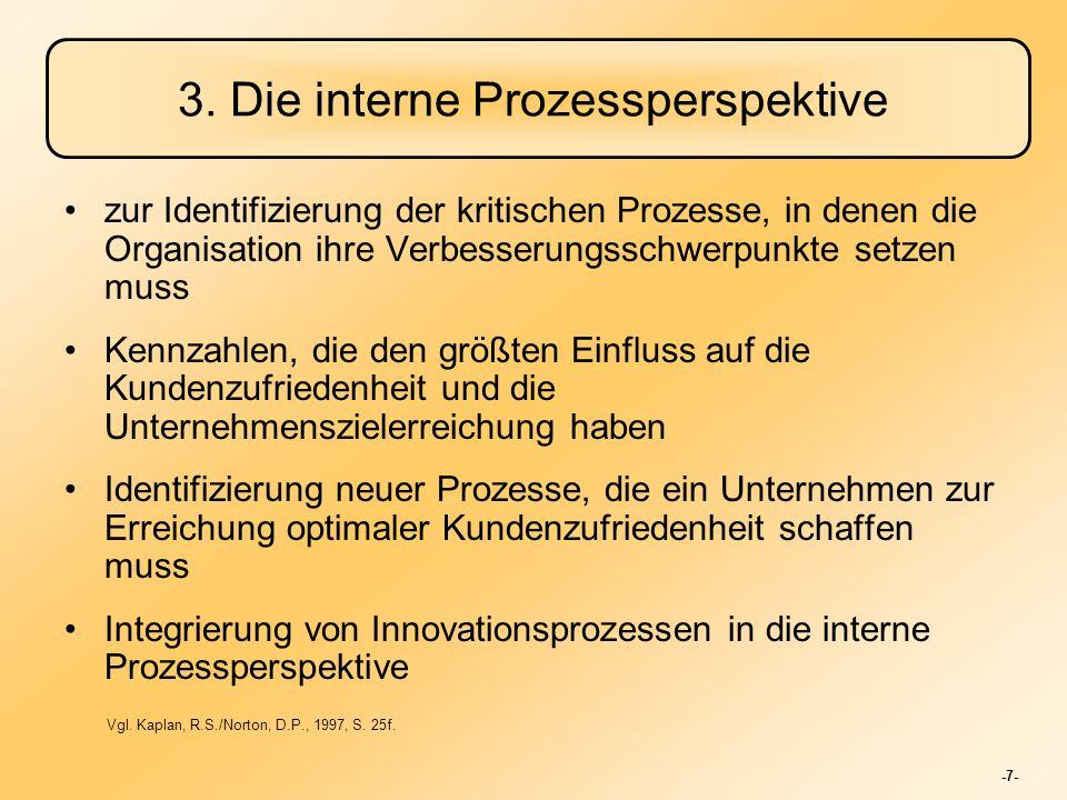 -7- 3. Die interne Prozessperspektive zur Identifizierung der kritischen Prozesse, in denen die Organisation ihre Verbesserungsschwerpunkte setzen mus