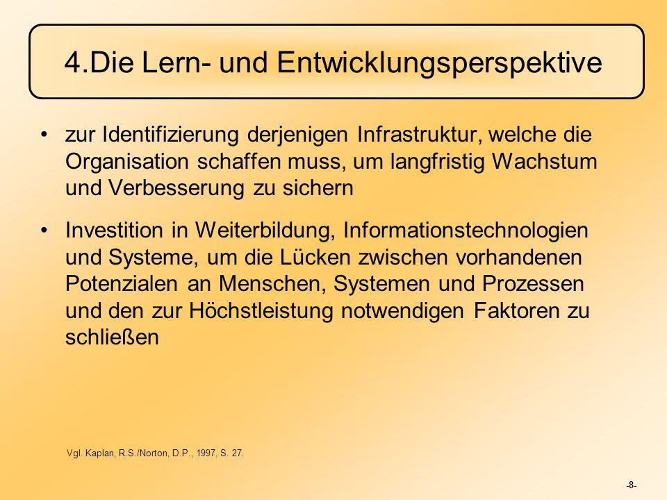 -8- 4.Die Lern- und Entwicklungsperspektive zur Identifizierung derjenigen Infrastruktur, welche die Organisation schaffen muss, um langfristig Wachst