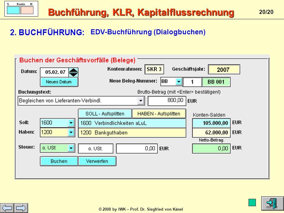 Buchführung, KLR, Kapitalflussrechnung © 2008 by IWK – Prof. Dr. Siegfried von Känel 19/20 S GuV- Konto H Erträge Verlust Aufwendungen Anfangsbestand