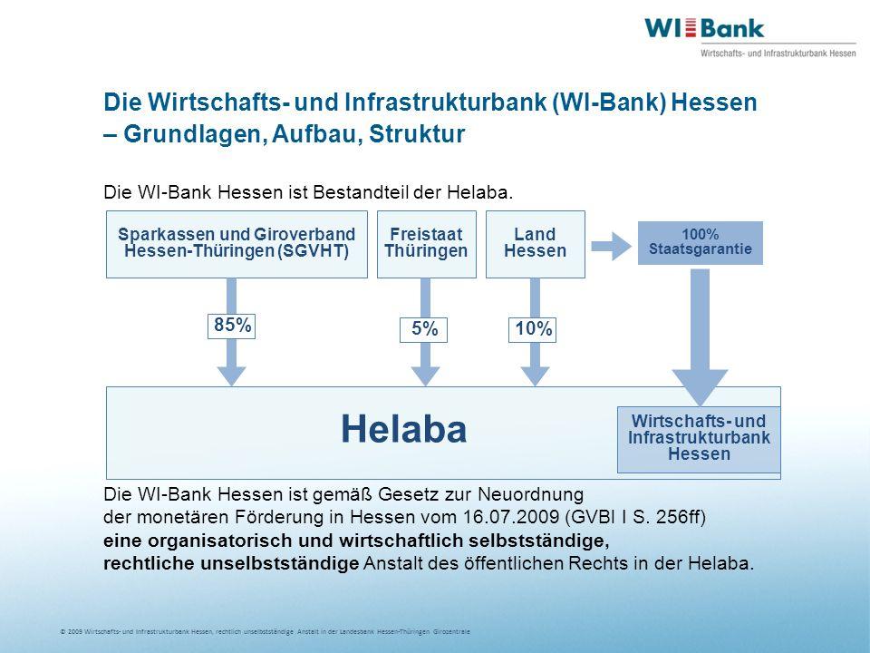 © 2009 Wirtschafts- und Infrastrukturbank Hessen, rechtlich unselbstständige Anstalt in der Landesbank Hessen-Thüringen Girozentrale Die Wirtschafts- und Infrastrukturbank (WI-Bank) Hessen – Grundlagen, Aufbau, Struktur Die WI-Bank Hessen ist Bestandteil der Helaba.