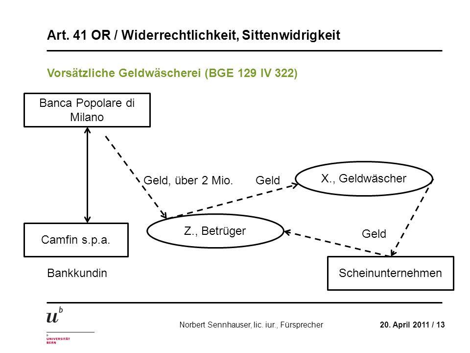 Art. 41 OR / Widerrechtlichkeit, Sittenwidrigkeit 20. April 2011 / 13Norbert Sennhauser, lic. iur., Fürsprecher Vorsätzliche Geldwäscherei (BGE 129 IV