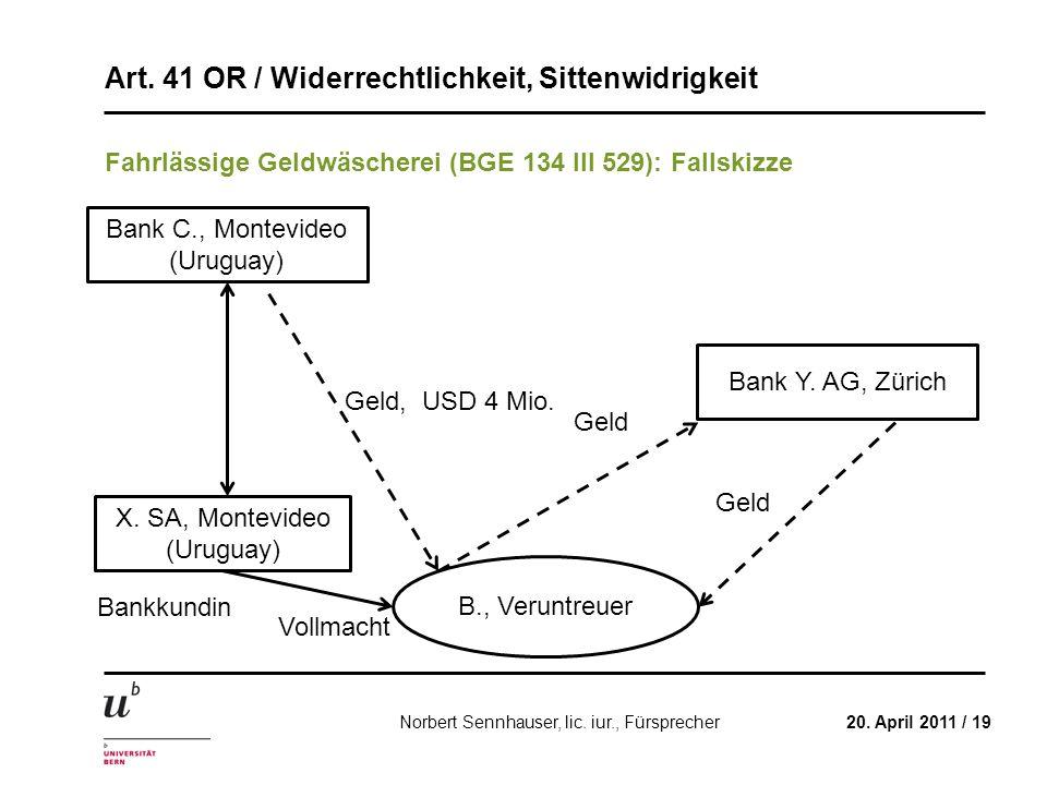 Art. 41 OR / Widerrechtlichkeit, Sittenwidrigkeit 20. April 2011 / 19Norbert Sennhauser, lic. iur., Fürsprecher Fahrlässige Geldwäscherei (BGE 134 III