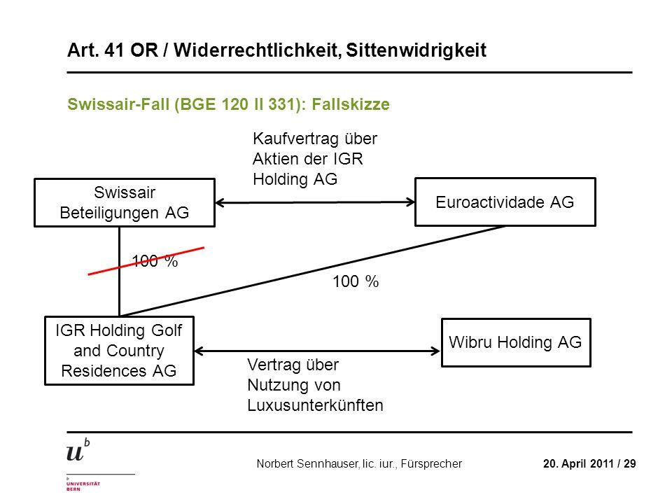 Art. 41 OR / Widerrechtlichkeit, Sittenwidrigkeit 20. April 2011 / 29Norbert Sennhauser, lic. iur., Fürsprecher Swissair-Fall (BGE 120 II 331): Fallsk