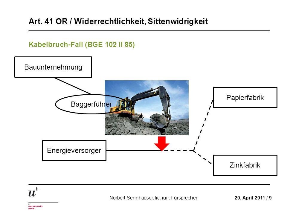 Art. 41 OR / Widerrechtlichkeit, Sittenwidrigkeit 20. April 2011 / 9Norbert Sennhauser, lic. iur., Fürsprecher Kabelbruch-Fall (BGE 102 II 85) Energie