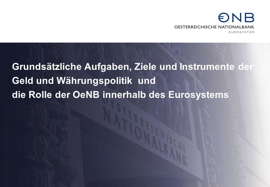 Grundsätzliche Aufgaben, Ziele und Instrumente der Geld und Währungspolitik und die Rolle der OeNB innerhalb des Eurosystems