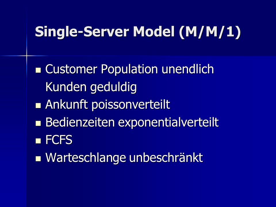 Single-Server Model (M/M/1) Customer Population unendlich Customer Population unendlich Kunden geduldig Ankunft poissonverteilt Ankunft poissonverteilt Bedienzeiten exponentialverteilt Bedienzeiten exponentialverteilt FCFS FCFS Warteschlange unbeschränkt Warteschlange unbeschränkt