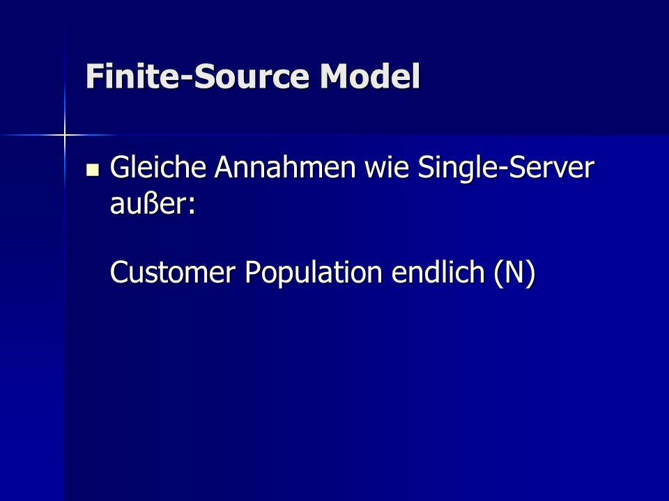 Finite-Source Model Gleiche Annahmen wie Single-Server außer: Gleiche Annahmen wie Single-Server außer: Customer Population endlich (N)
