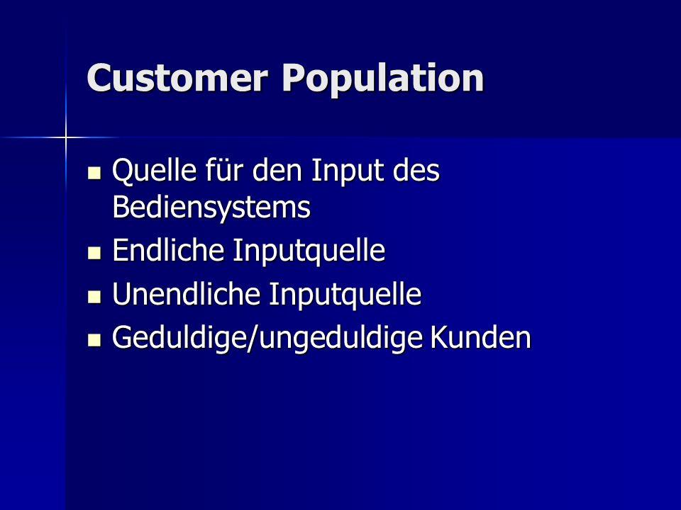 Customer Population Quelle für den Input des Bediensystems Quelle für den Input des Bediensystems Endliche Inputquelle Endliche Inputquelle Unendliche Inputquelle Unendliche Inputquelle Geduldige/ungeduldige Kunden Geduldige/ungeduldige Kunden