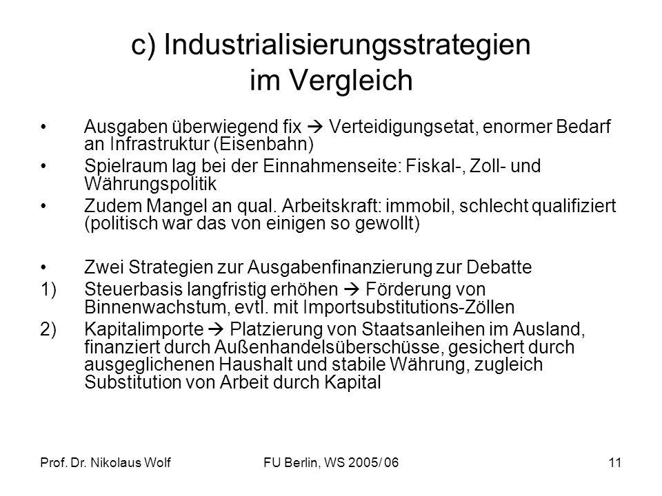 Prof. Dr. Nikolaus WolfFU Berlin, WS 2005/ 0611 c) Industrialisierungsstrategien im Vergleich Ausgaben überwiegend fix Verteidigungsetat, enormer Beda