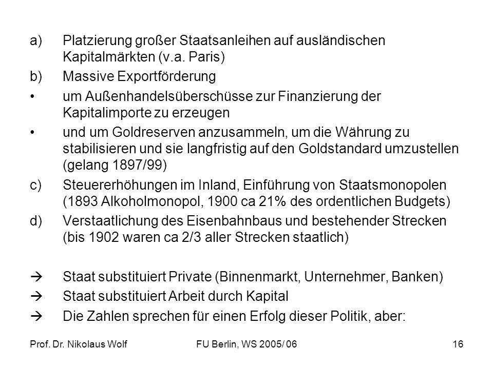 Prof. Dr. Nikolaus WolfFU Berlin, WS 2005/ 0616 a)Platzierung großer Staatsanleihen auf ausländischen Kapitalmärkten (v.a. Paris) b)Massive Exportförd