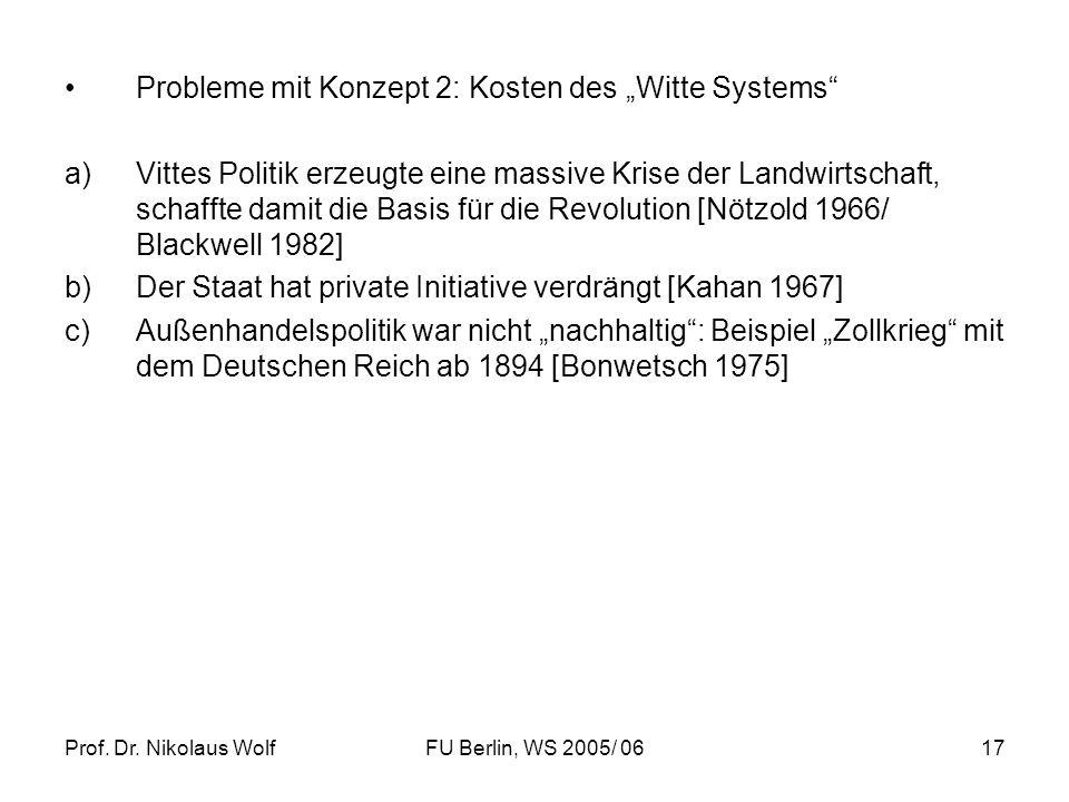 Prof. Dr. Nikolaus WolfFU Berlin, WS 2005/ 0617 Probleme mit Konzept 2: Kosten des Witte Systems a)Vittes Politik erzeugte eine massive Krise der Land