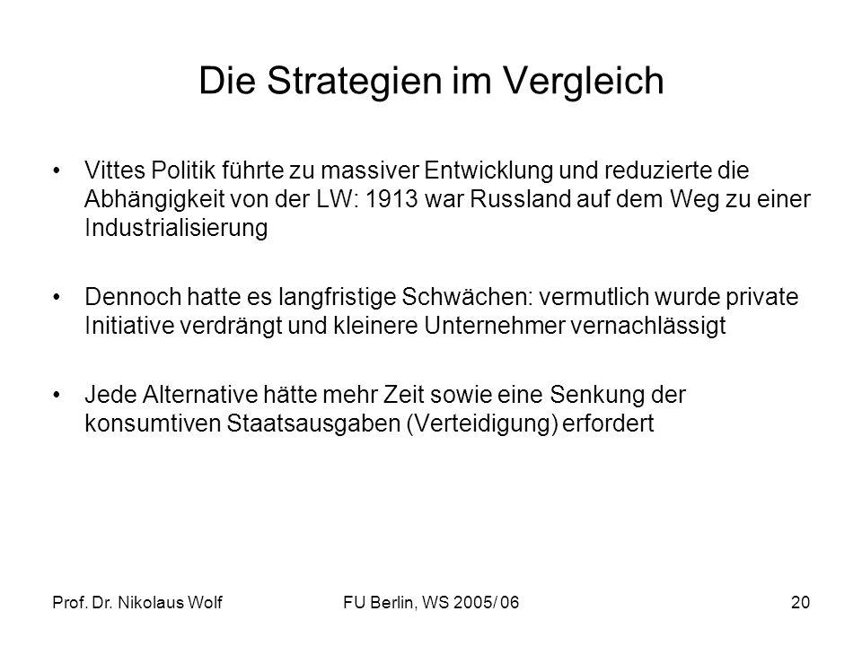 Prof. Dr. Nikolaus WolfFU Berlin, WS 2005/ 0620 Die Strategien im Vergleich Vittes Politik führte zu massiver Entwicklung und reduzierte die Abhängigk