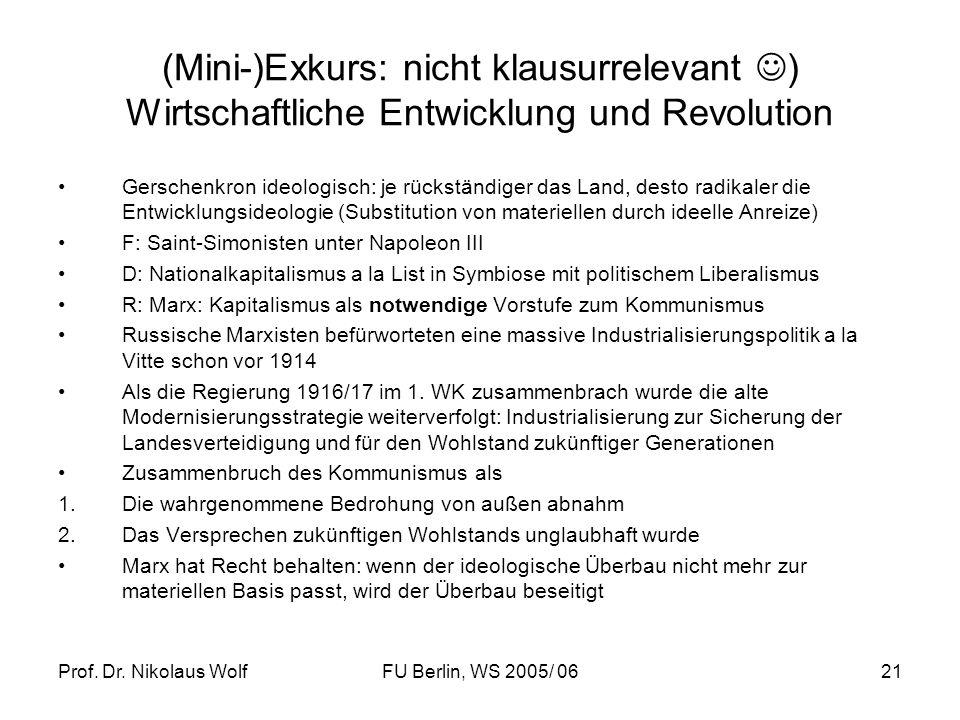 Prof. Dr. Nikolaus WolfFU Berlin, WS 2005/ 0621 (Mini-)Exkurs: nicht klausurrelevant ) Wirtschaftliche Entwicklung und Revolution Gerschenkron ideolog