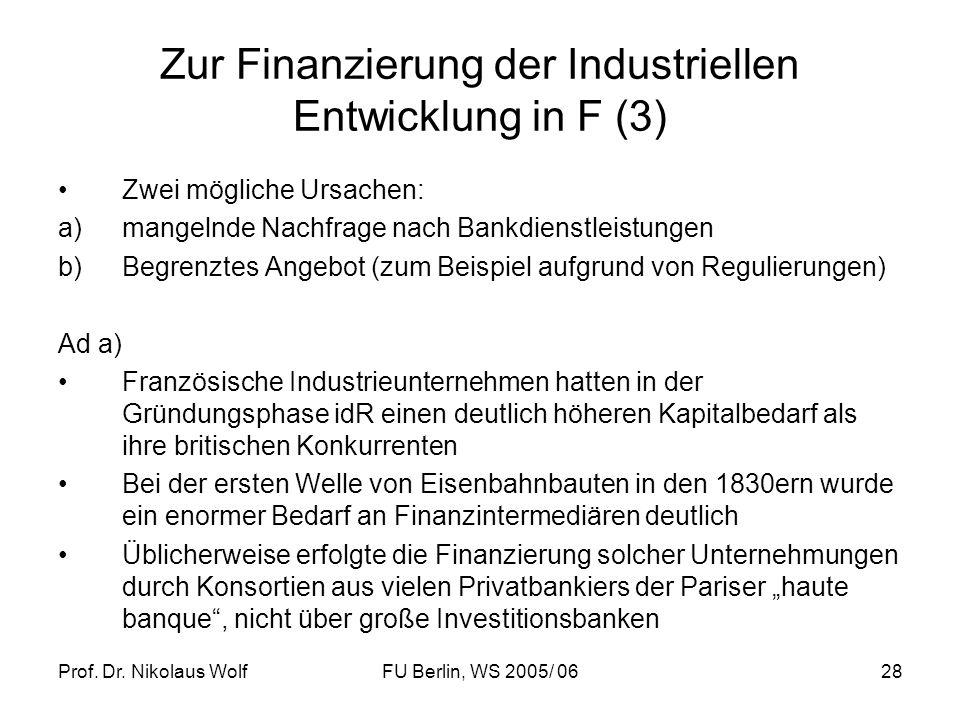 Prof. Dr. Nikolaus WolfFU Berlin, WS 2005/ 0628 Zur Finanzierung der Industriellen Entwicklung in F (3) Zwei mögliche Ursachen: a)mangelnde Nachfrage